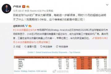 华为第三小米第四二月全球手机销量陈述出炉小米和华为距离有点大