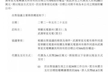 2.86亿元武汉华显70%股权转让